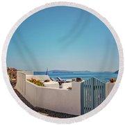 Blue Gate Santorini Round Beach Towel