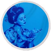 Blue Geisha Round Beach Towel