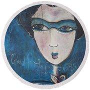 Blue Geisha Love Detail Round Beach Towel
