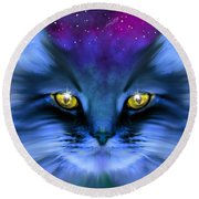 Blue Ghost Cat Round Beach Towel