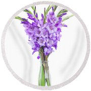 Blue  Gladiolus Round Beach Towel