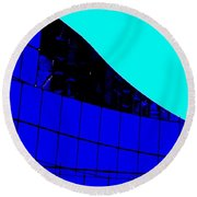 Blue Glass Abstract Round Beach Towel