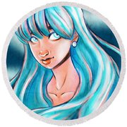 Blue Glow Round Beach Towel