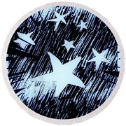 Blue Glow Starry Abstract Round Beach Towel