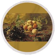 Blue Grapes And Peaches In A Wicker Basket Round Beach Towel