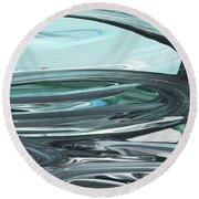 Blue Gray Brush Strokes Abstract Art For Interior Decor V Round Beach Towel