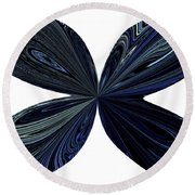 Blue, Green And Black Butterfly Astract Round Beach Towel