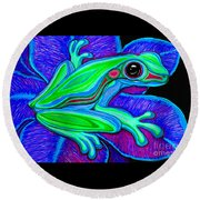Blue Green Frog Round Beach Towel