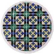 Blue Green Lisbon Tiles Souvenirs Round Beach Towel