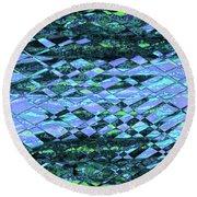 Blue Green Ocean Abstract Round Beach Towel
