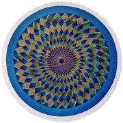 Blue Green Planet Round Beach Towel