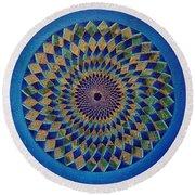 Blue Green Planet Round Beach Towel