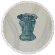 Blue-green Vase Round Beach Towel