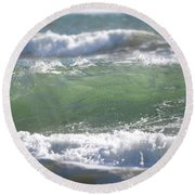 Blue Green Waves Round Beach Towel