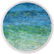 Blue Green Waves Round Beach Towel
