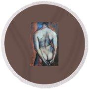 Blue Hair Round Beach Towel