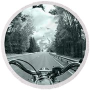 Blue Harley Round Beach Towel