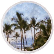 Blue Hawaii Round Beach Towel