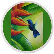 Blue-headed Hummingbird Round Beach Towel