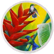 Blue-headed Hummingbirds And Heliconia Round Beach Towel