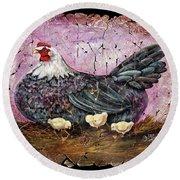 Blue Hen With Chicks Fresco Black Background Round Beach Towel