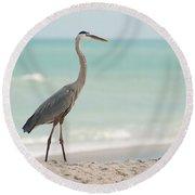 Blue Heron And The Sea Round Beach Towel