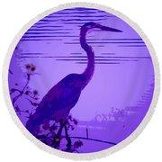 Blue Heron... Round Beach Towel