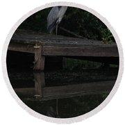 Blue Heron At Dusk Round Beach Towel