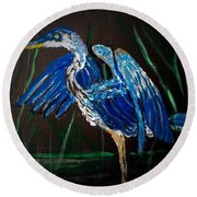 Blue Heron At Night Round Beach Towel