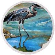 Blue Heron I Round Beach Towel