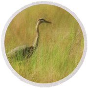 Blue Heron In The Grass. Round Beach Towel