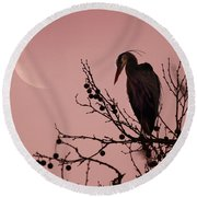 The Heron And The Moon Round Beach Towel