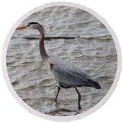 Blue Heron  On The Lake Round Beach Towel