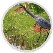 Blue Heron Scene Round Beach Towel