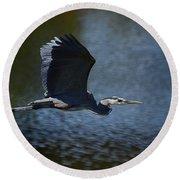 Blue Heron Skies  Round Beach Towel