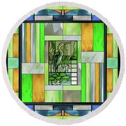 Blue Heron Stained Glass Round Beach Towel