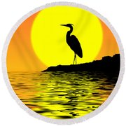 Blue Heron Sunset Round Beach Towel