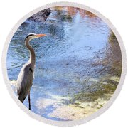 Blue Heron With Shadow Round Beach Towel