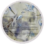 Great Blue Herons Chilling Round Beach Towel