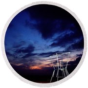 Blue Hole Tower Round Beach Towel
