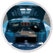 Blue Hot Rod Round Beach Towel