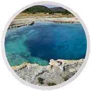 Blue Hot Springs Yellowstone National Park Round Beach Towel