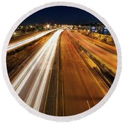 Blue Hour Freeway Light Trails Round Beach Towel