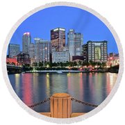 Blue Hour In The Steel City Round Beach Towel
