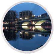 Blue Hour On The Charles Round Beach Towel