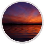 Blue Hour On The Neches  Round Beach Towel