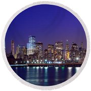 Blue Hour Panorama New York World Trade Center With Freedom Tower From Liberty State Park Round Beach Towel