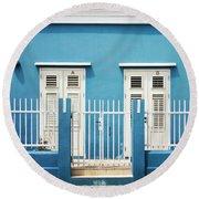 Blue Curacao House Round Beach Towel