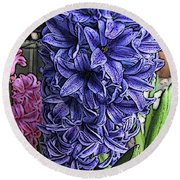 Blue Hyacinth Round Beach Towel