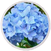 Blue Hydrangea Floral Art Print Hydrangeas Flowers Baslee Troutman Round Beach Towel